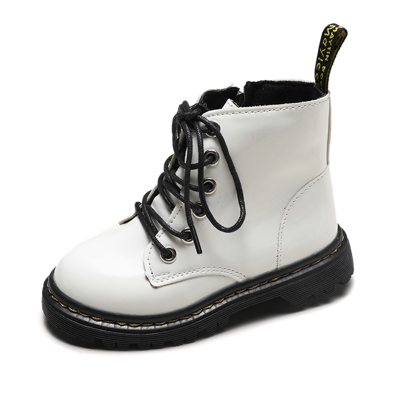 Kids Martin Boots New PU Ankle White Boots Girls Boys Shoes Zip Single Cotton Autumn Boys Boots Toddler Children Girls Shoes