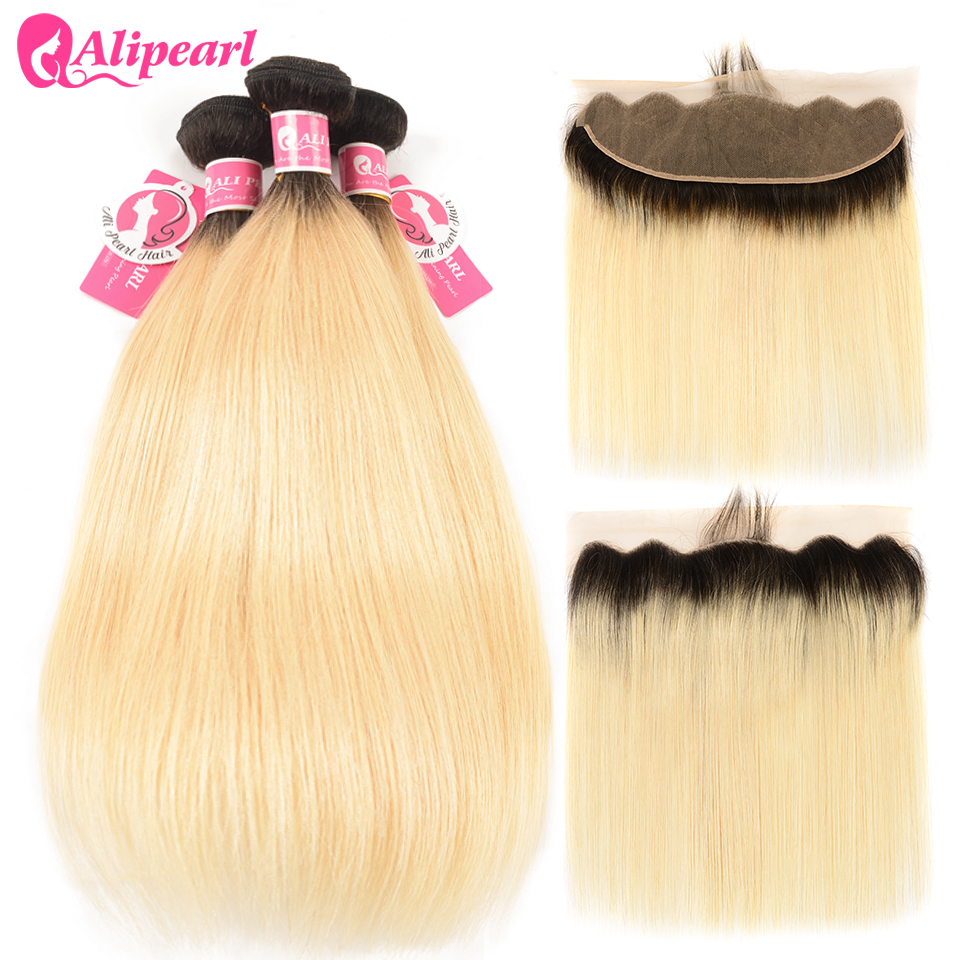 AliPearl 1b/613 Ombre Black and Blonde Bundles With Frontal Pre Plucked With Baby hair Dark Roots Platinum Blonde Remy Hair image