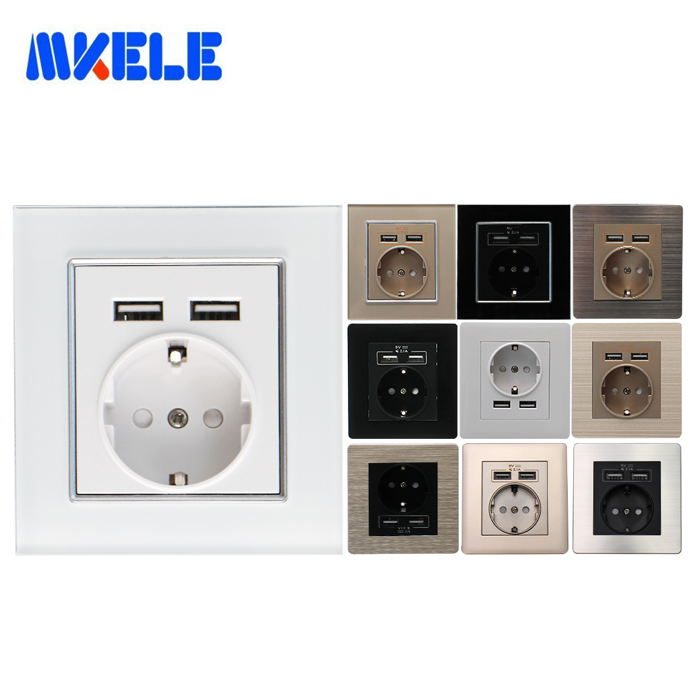 EU Standard Wall Power Socket Grounded 16A Dual USB Charger Port For Mobile Adapter Plug 5V 2.1A PC Glass Aluminum Steel Panel