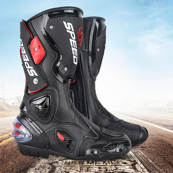 Microfiber Leather Motorcycle boots shoes Men's dirt bike Boots Knee-high Motocross Boots anti-fall Riding shoes Motorboats probiker ankle leather motobotinki motorcycle boots men racing bota moto motor bike shoes motorboats for motocross black