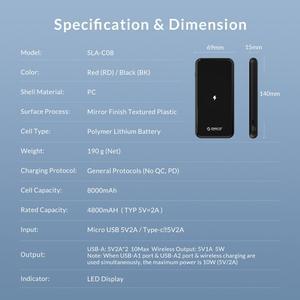 Image 5 - ORICO Batería Externa de 8000mAh para móvil, Banco de energía inalámbrico para iphone X, XS, XR, USB tipo C, carga inalámbrica para teléfono inteligente Samsung
