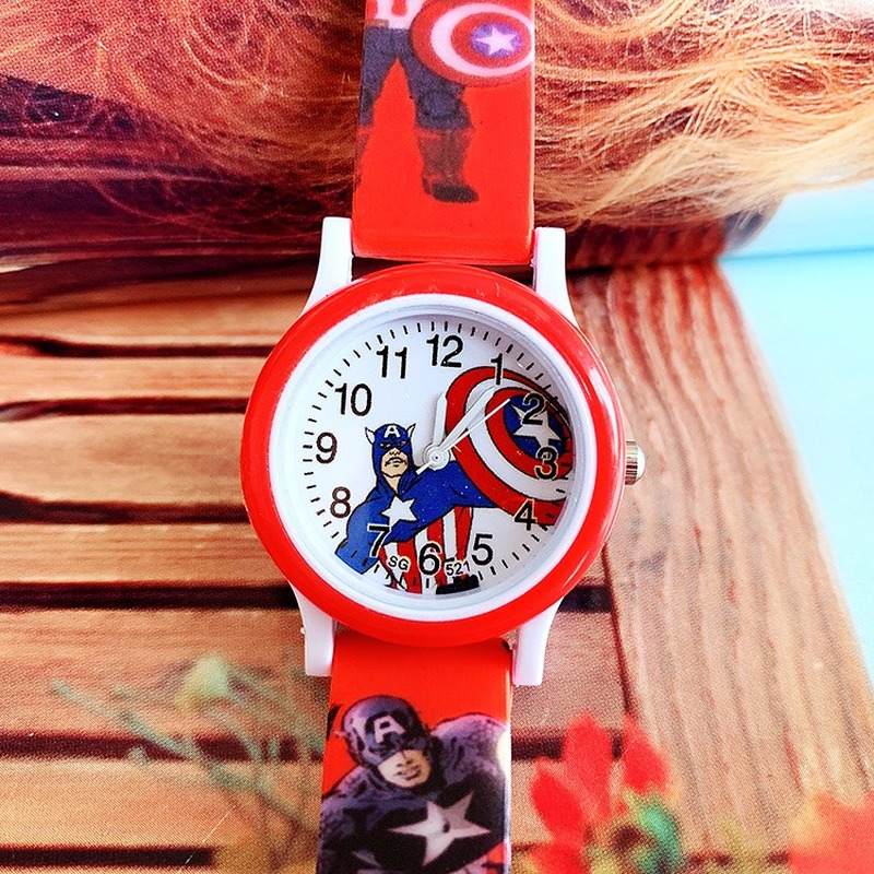 Popular Children's Cartoon Captain Iron Man Silica Print Band Children's Quartz Watch Boys Casual Wrist Watch