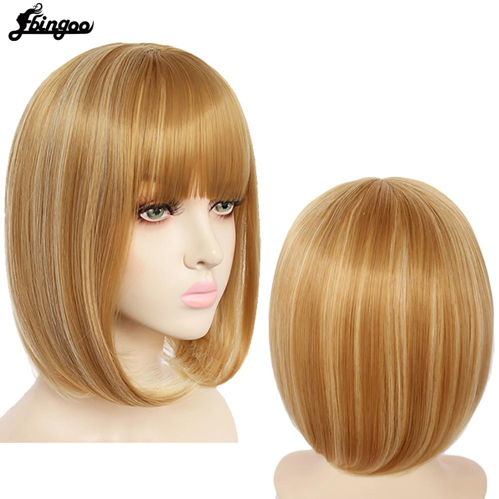 Ebingoo curto em linha reta bob peruca ombre loira bayalage perucas sintéticas com franja de ar para meninas femininas + boné
