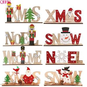 QIFU Xmas Noel Wooden Christmas Ornaments Merry Christmas Decor for Home 2020 Navidad Cristmas Decor Xmas Gifts New Year 2021