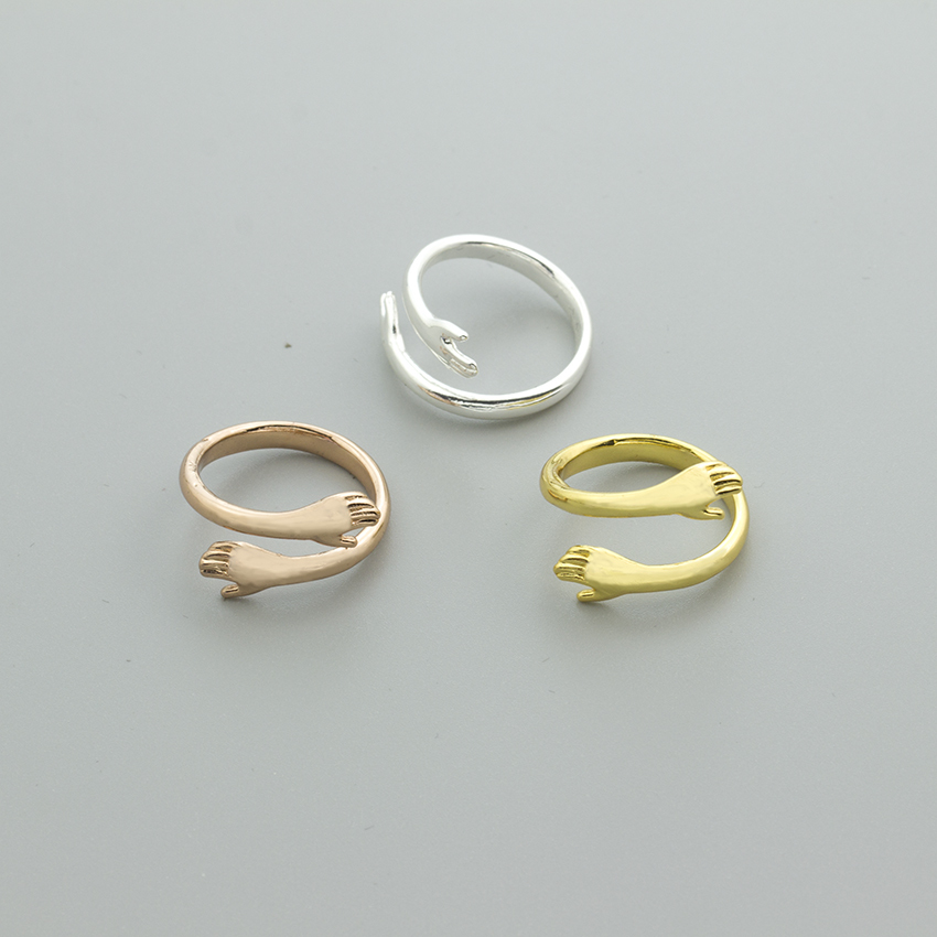 10PCS Hug Layer Give Me A Hug Hand Open Finger Rings Knuckle Jewellery Vintage Hugging Hand Ring for Women Man Anillos