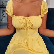 Cryptographic Yellow Sexy Backless Summer Holiday Mini Dress Party Club Ruched F