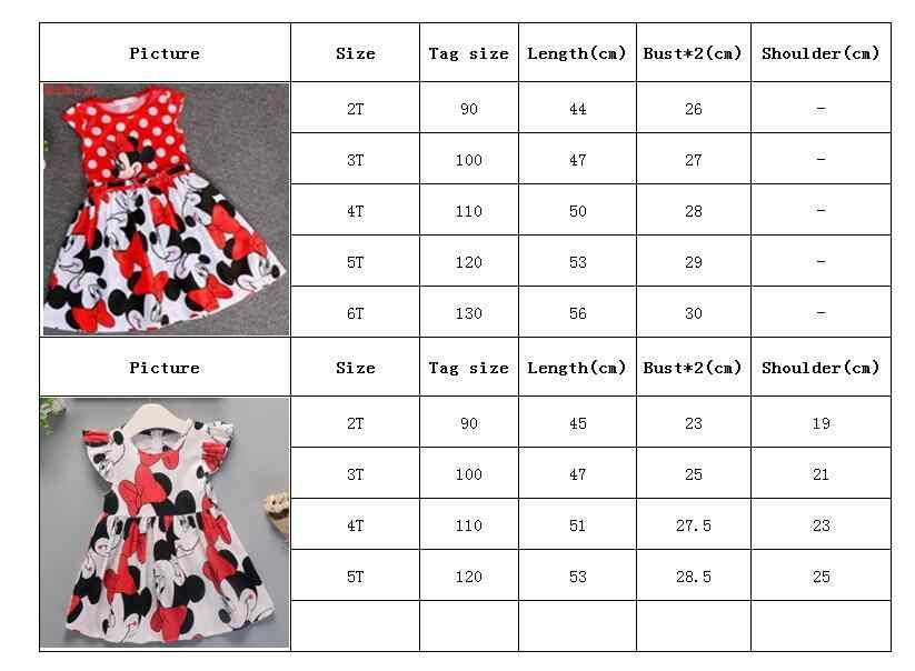 Meninas vestido de verão desenho animado impressão minnie vestido bebê menina traje princesa festa de natal bonito tutu vestido 2-6y crianças roupas