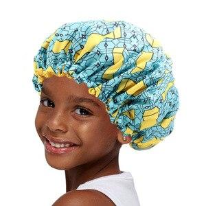 Новая очень большая шапочка для сна, Детская Регулируемая Атласная шапочка в африканском стиле с принтом в виде Анкары, тюрбан, шапочка для ...