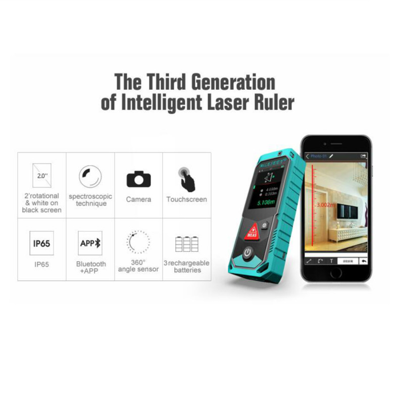 """Image 2 - Mileseey P7 80M Bluetooth Laser Rangefinder with Rotary Touch Screen Rechargerable Laser Meter  2.0"""" LCD Handheld-in Laser Rangefinders from Tools"""
