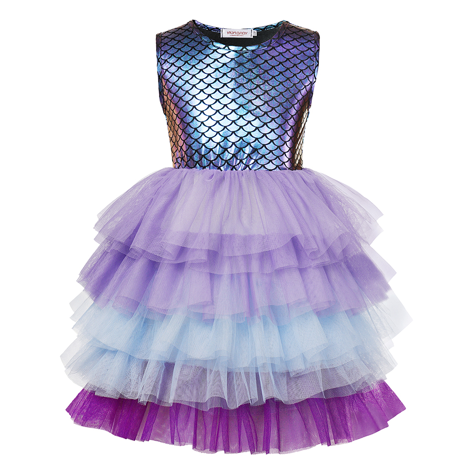 Layered Princess Mermaid Dress up Girl Party Costume Scales Print Gown Kids Milk Silk Clothes and Jewelry Grils Aril Fancy Dress 3