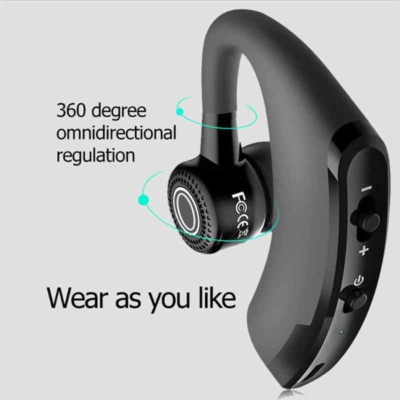 V9 แฮนด์ฟรีไร้สาย Bluetooth ชุดหูฟังพร้อมไมโครโฟนสำหรับไดร์เวอร์กีฬาแบบพกพา 180 ° ปรับ Low-Power ธุรกิจหูฟัง