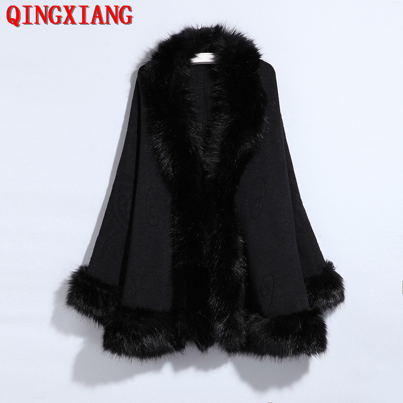 13 Colors 2019 Sample Black Poncho Big Faux Fox Fur Neck Cloak Red Open Stitch Long Bawting Sleeves Shawl Knitted Outside Coat