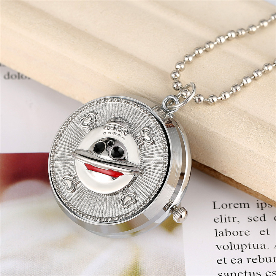 Hot Anime One Piece Theme Children Necklace Quartz Pocket Watch Silver Chain Creatibe Rotatable Cover Design Pendant Clock
