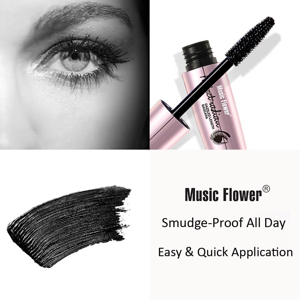 Music Flower Black 3X Dazzled Length Mascara Thick Curling Long Lasting Smudge-proof Eyelash Women Eye Makeup Drop shipping