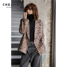 CHEERART Leopard Print Double Breasted Blazer Brown Ladies Blazers Coats And Jackets Women Fashion 2019 Autumn Blazer