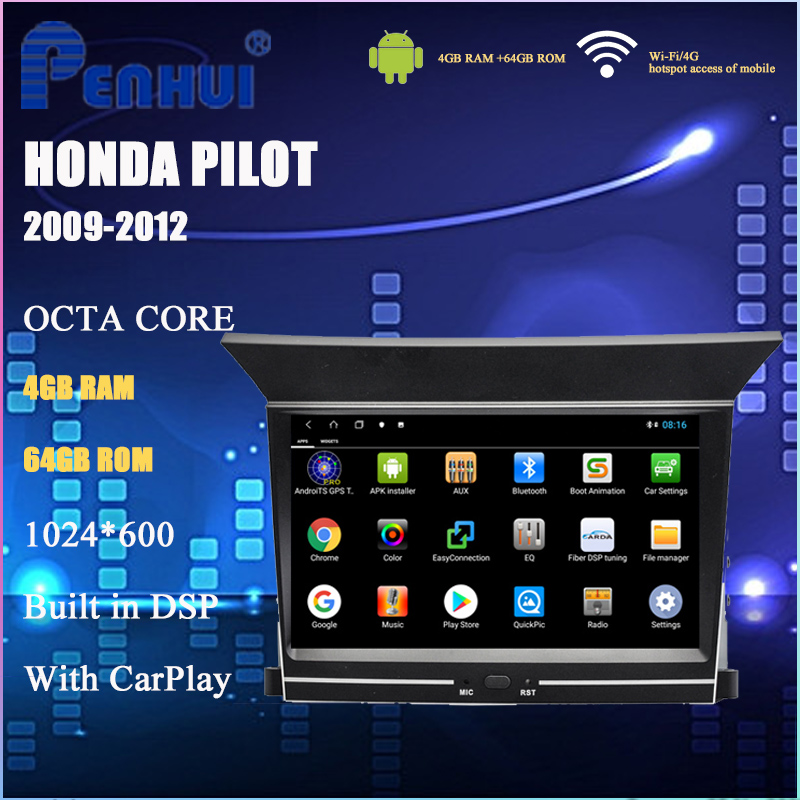 Android Car DVD For Honda Pilot ( 2009-2012) Car Radio Multimedia Video Player Navigation GPS Android 10.0 Double DIn image