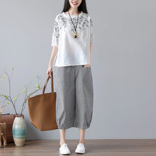 2020 summer New Style Large Women's RETRO Art Embroidery Printing Cotton Hemp T-shirt Wide Leg Pants Suit Short Two-piece Set(China)