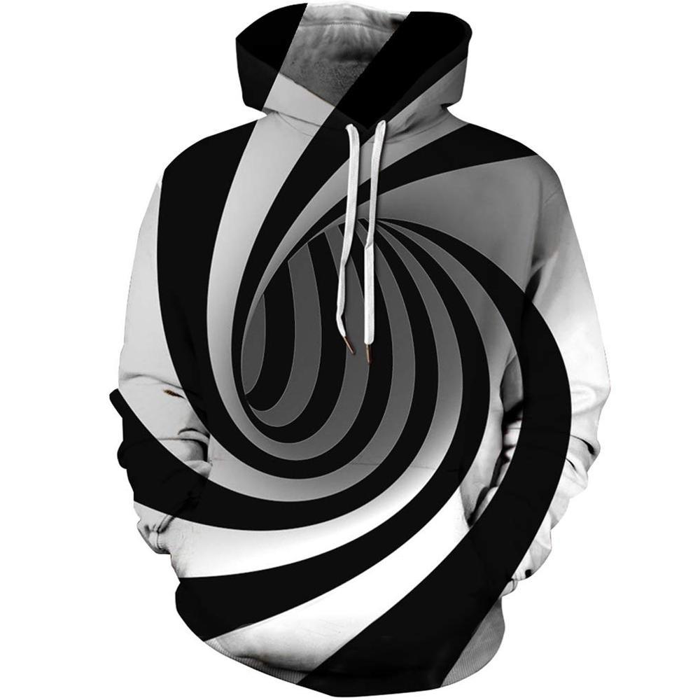 Women Men/'s Casual 3D Milk Bottle Print Hoodie Long Sleeve Black White Pullovers