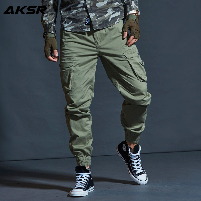 AKSR Cargo-Pants Joggers Streetwear Tactical Military-Trousers Hip-Hop Cotton Men's Large-Size