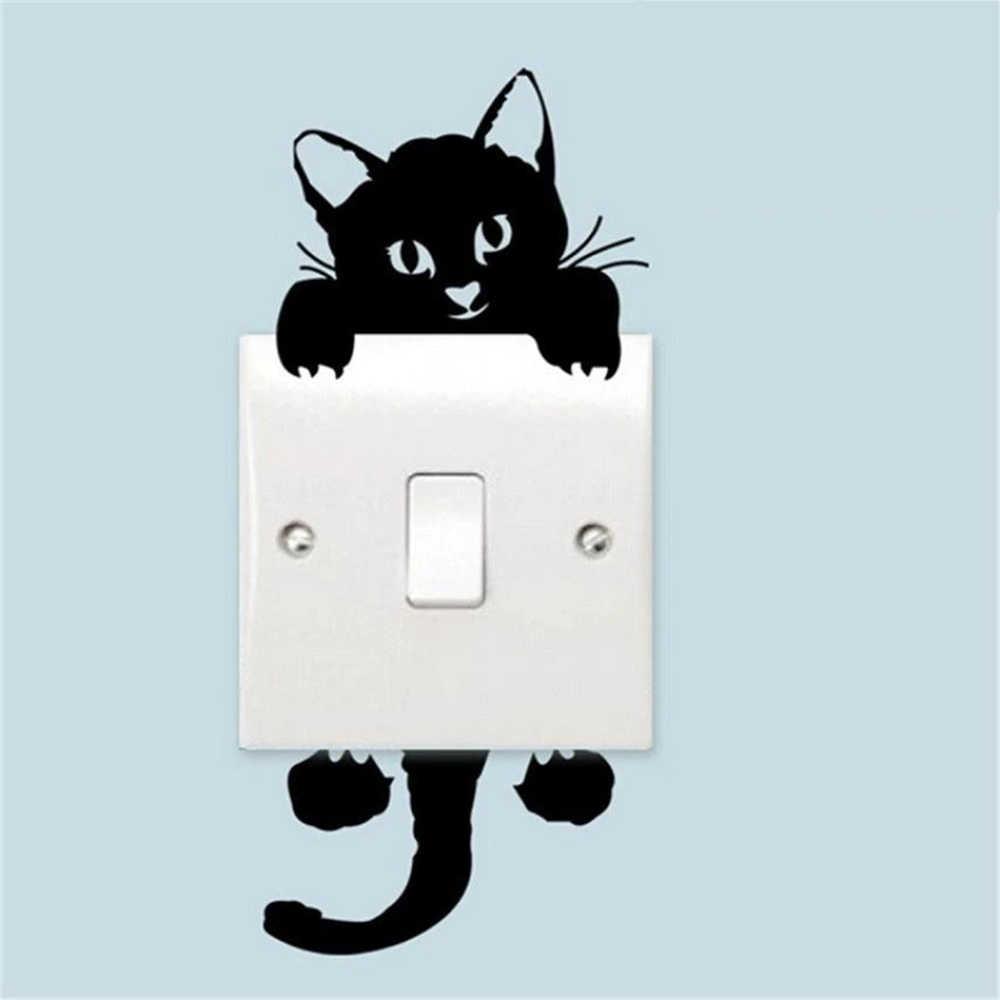 Gato adorável interruptor de luz adesivos parede para crianças quartos diy decoração para casa dos desenhos animados animais pvc adesivos parede mural arte papel
