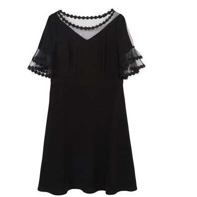 Large Size Dress Summer Wear New Style Fat Mm Tibetan Meat Base Skirt Lace Gauze Fight Bell Sleeve Dress