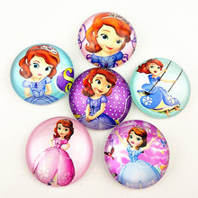 10pcs New style Sophia, mermaid, snow white, long hair Princess,KT cats,Cartoons doll, 20mm Glass Cabochon for jewelry making
