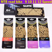 цены SUMC MTB Road Bike Chain 9 10 11 12 Speed SL Golden Gold Chain 116L 126L Hollow Gold Chain With missinglink For Shimano Sram