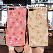 NJIEER Diamond Texture Cases For iPhone 7 8 6 S 6S Plus X XR XS Max Cute Fruit Strawberry lemon Phone Case Ultra Thin Back Cover