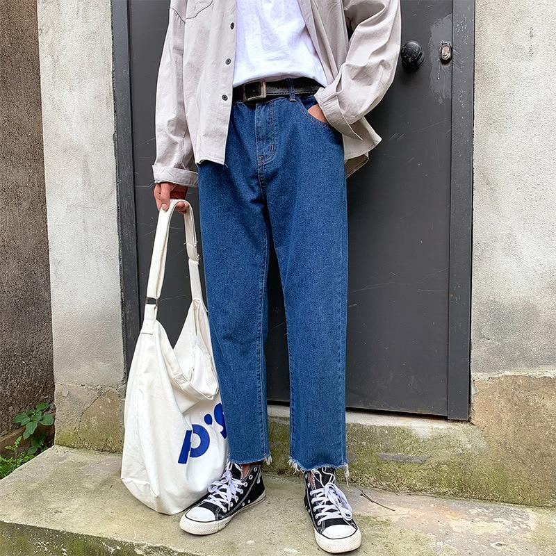 Summer New Style Hong Kong Style Trend Casual Straight-Cut Jeans Korean-style Loose-Fit Versatile Loose Pants Teenager Capri Pan