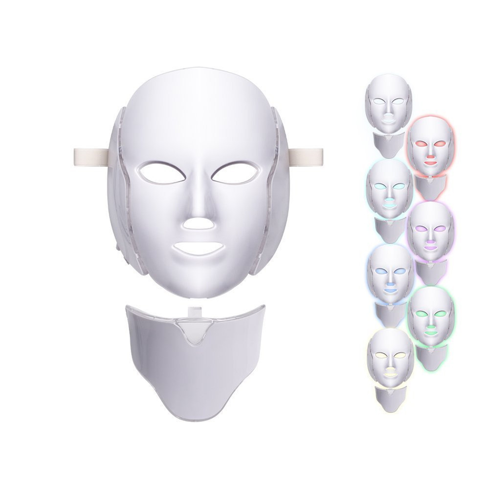 LED Facial Mask Beauty Skin Rejuvenation Photon Light 7 Colors Mask with Neck Therapy Wrinkle Acne Tighten Skin Tool|Powered Facial Cleansing Devices|   - AliExpress