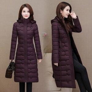 Image 5 - 冬のコートの女性生き抜く2020ロングパーカープラスサイズ4XL暖かい厚手のダウンジャケットフード付きファッションスリム固体冬服女性