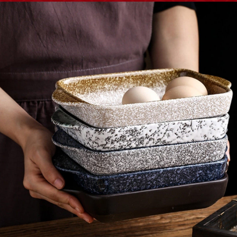 Japanese-style simple ceramic binaural grilled dishes microwave oven-specific oven bowl baked cheese baked rice cutlery LB41804
