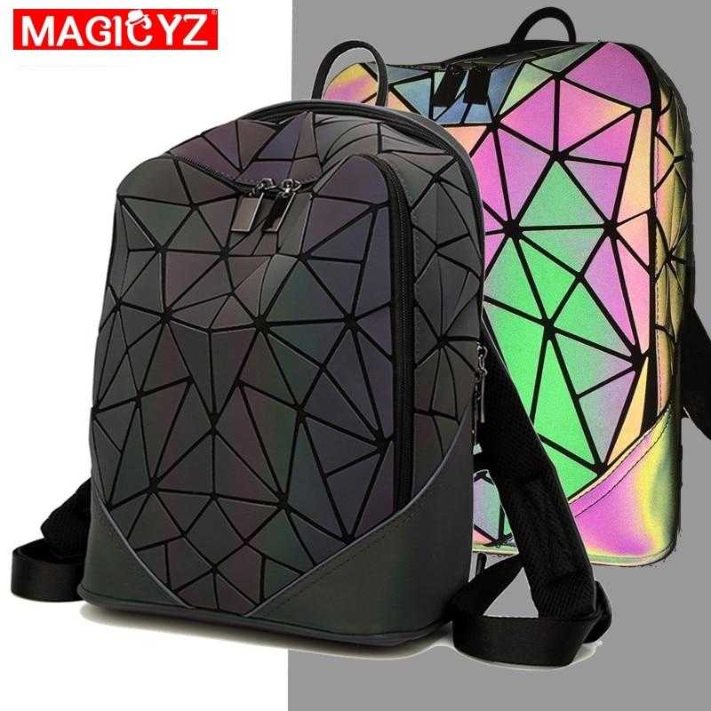 Women Backpack Luminous Geometric Plaid Female Backpacks For Teenage Girls Bagpack Bag Holographic Backpack School Mochila-in Backpacks from Luggage & Bags
