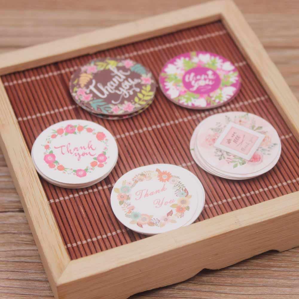 Nuevo 3cm forma circular 100 Uds. Blanco/papel kraft etiqueta colgante DIY gracias las etiquetas del paquete etiqueta galletas boda favores etiqueta
