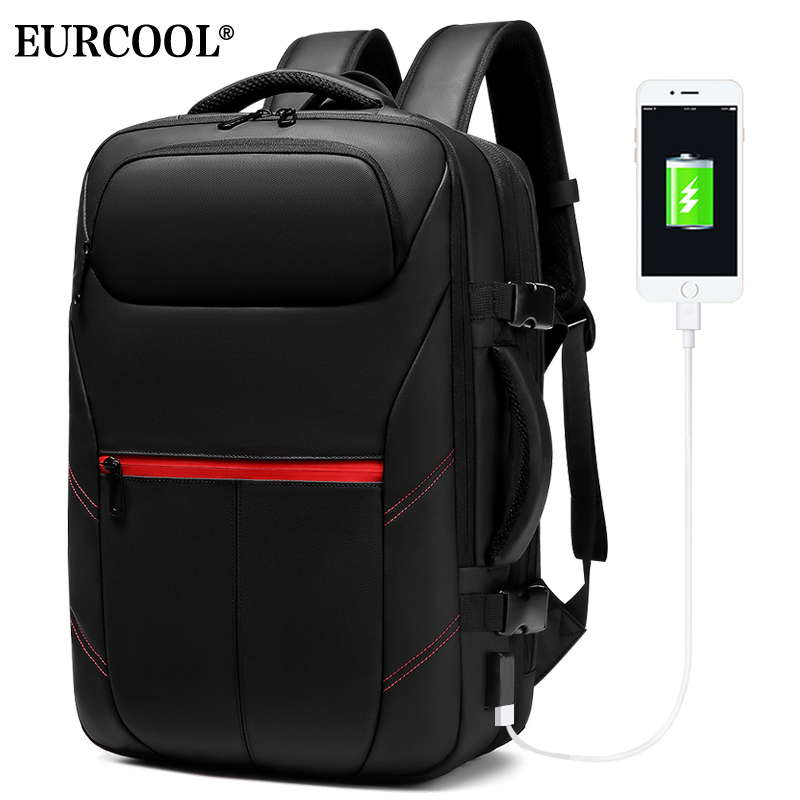 EURCOOL Travel Backpack Large Capacity Male Mochila Expandable Rucksack With USB Charging Laptop Backpack Waterproof N1962