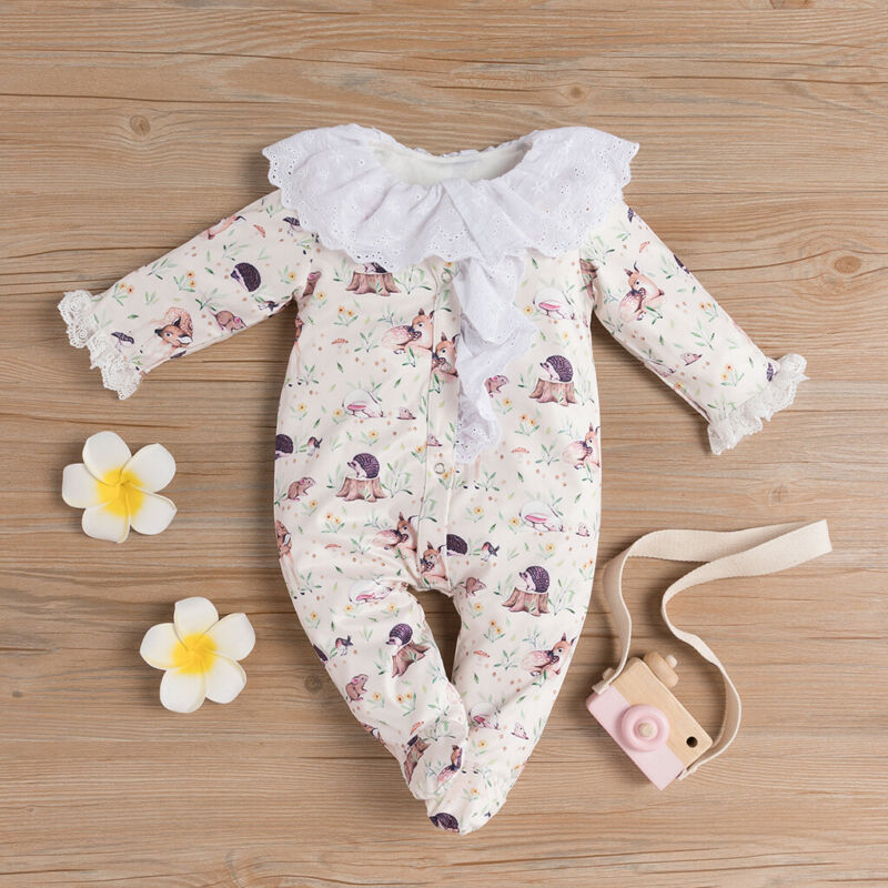 0-24M Newborn Baby Girl Wrap Footies Jumpsuit Lace Doll Collar Cute Cartoon Animal Print Princess Clothes Infant Girl Playsuit