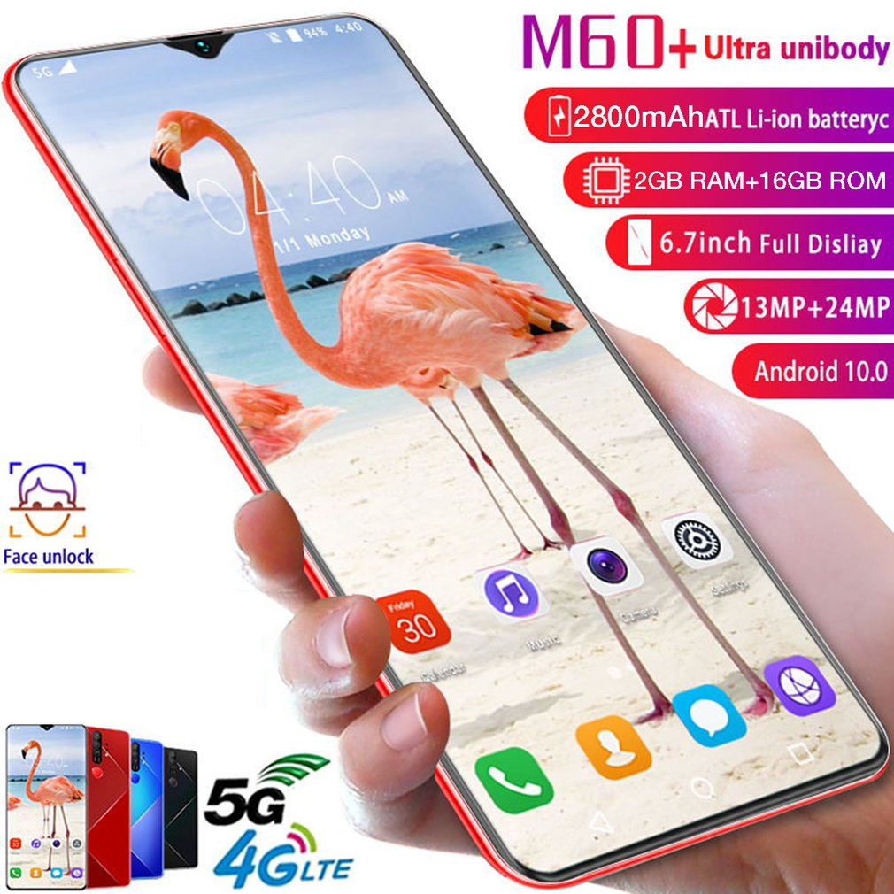 M60 + 6.7 Water Drop Screen 2 + 18GB True Fingerprint Mobile Phone Facial Recognition Battery 4800mAh Android 10.0 Smart Phone