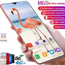 M60 + 6.7 Water Drop Screen 2 + 18 Gb True Vingerafdruk Mobiele Telefoon Gezichtsherkenning Batterij 4800 Mah Android 10.0 Smart Telefoon(China)