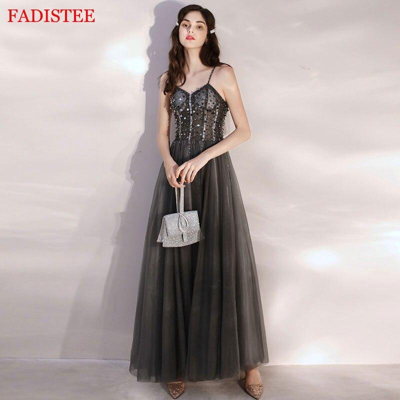 Major Beading Strap Elegant Dark Gray Robe De Soiree Vestidos De Fiesta De Noche Prom Party Evening Dresses Gown Long Frock