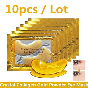 10Pcs Crystal Collagen Gold Powder Eye Mask Anti-Aging Dark Circles Acne Beauty Patches For Skin Care Korean Cosmetics
