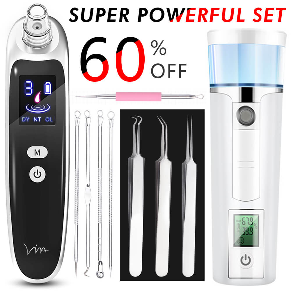 Blackhead Remover Face Vacuum Suction Pore Acne Needle Tweezer Extractor Nose Skin Cleaner Massage Tools SPA Facial Steamer Set