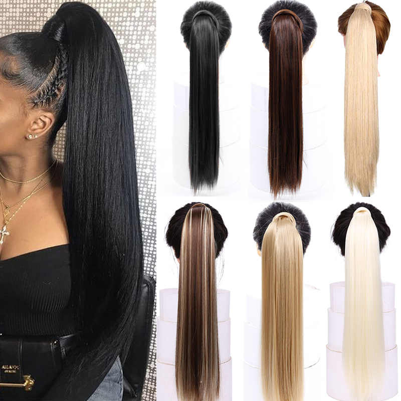"Straight Clip In Hair Tail False Hair 24"" 120g Ponytail Hairpiece With Hairpins Synthetic Hair Pony Tail Hair Extensions AOSIWIG"