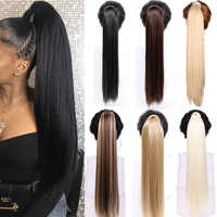 Straight Clip In Hair Tail False Hair 24 120g Ponytail Hairpiece With Hairpins Synthetic Hair Pony Tail Hair Extensions AOSIWIG