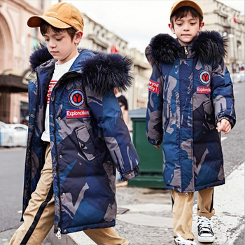 Camouflage Winter Boys Kids White Duck Down Jackets Coat For Boys Big Fur Collar Warm Thick Children's Jackets Clothes Outwear