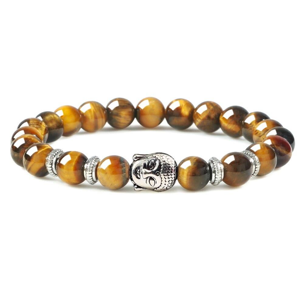 Men Tiger Eye Stone Bracelet Silver Color Buddha Charm Lava Rock Beads Onyx Stretch Bracelets Bangles Women Prayer Reiki Jewelry