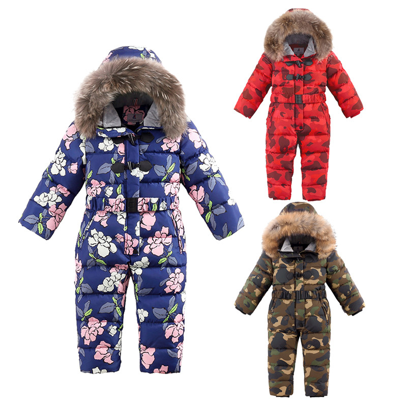 kids onesie down coat thick fur hooded one piece down jacket for 1-6years child toddler boys girls Winter coat clothes outerwear