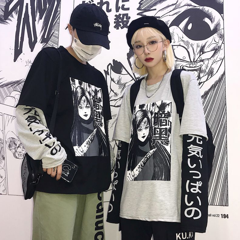 Aolamegs Fake 2 Pieces T-shirts Men Japanese Anime Print Long Sleeve Tees Autumn Harajuku Punk Patchwork Loose Casual Streetwear