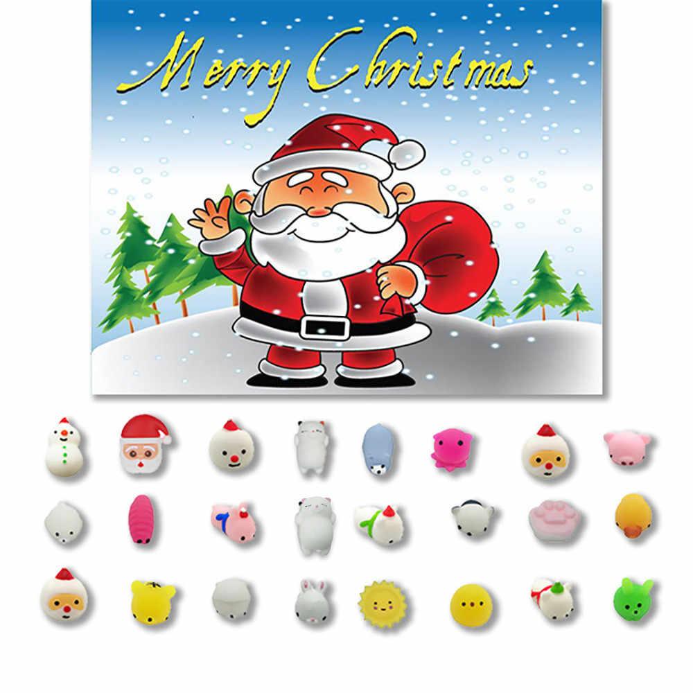 24 Pc Kerst Speelgoed Mini Leuke Squeeze Grappig Speelgoed Zachte Stress Relief Speelgoed Diy Decor Eindejaarsperiode Kinderen Gift Kid trage Speelgoed # E30