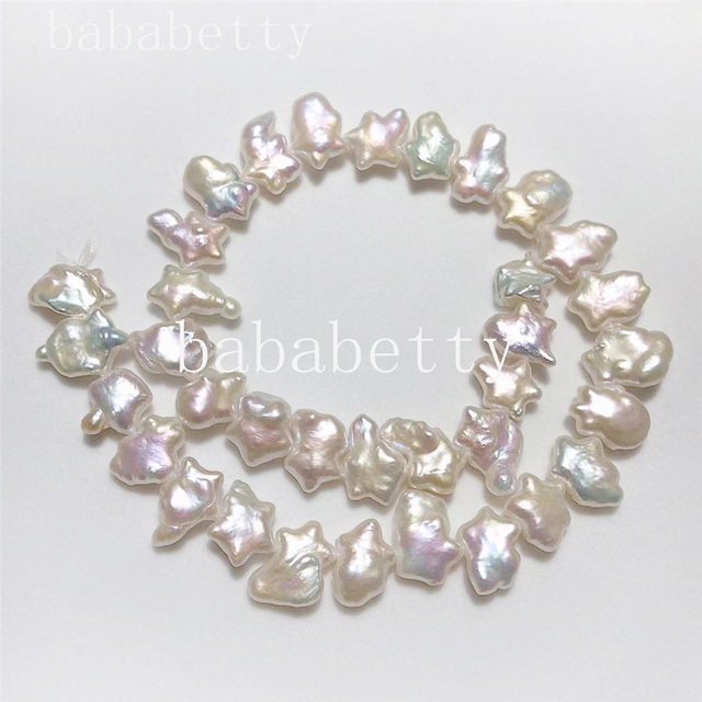 White FRESHWATER PEARLS  STRAND AAA Reborn keshi Nucleated Baroque pearl  loose  beads  around 40CM