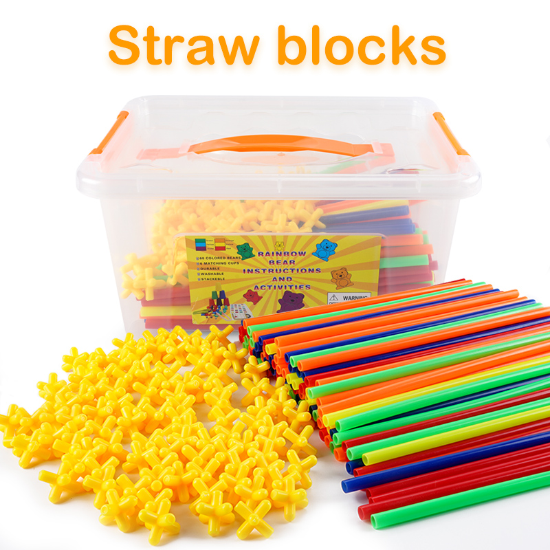 Image 2 - 4D DIY Magnetic Blocks Plastic Straw Fight Inserted Construction Building Kits Blocks Educational Toy for Children-in Magnetic from Toys & Hobbies